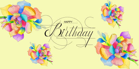 postcard, Internet banner, flat lay with a birthday greeting, with the inscription - happy birthday With watercolor flowers