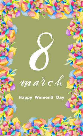International Women's Day March 8! Flat Lay, banner, greeting card with flowers from March 8 With watercolor flowers