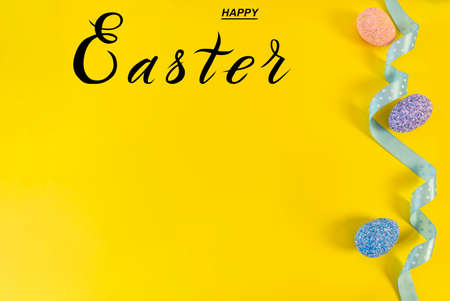 Happy easter! Flat Lay, Internet banner with Copy Space on Easter