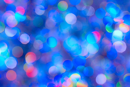 Abstract Christmas backdrop. Blue background of blur colorful texture bokeh for Festival and New year. Game of color. Stok Fotoğraf