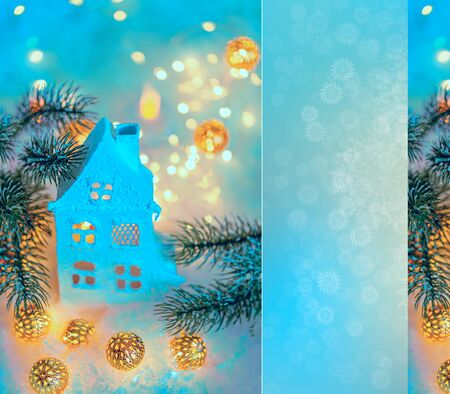 Greeting card Happy New Year and Merry Christmas. Beautiful cottage or chalet and blurred background of winter decoration for the holiday. Toned image, soft focus, closeup. Mockup, copy space. Stock Photo