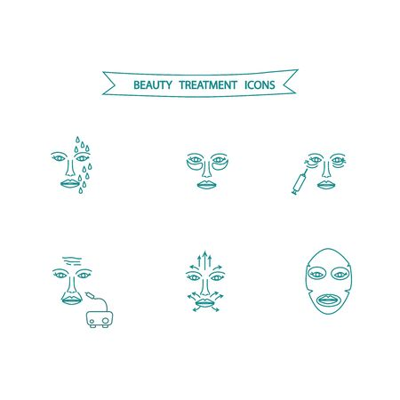 Face treatment icons for beauty salon, manufacture of professional cosmetic product, for presentation of cosmetology products
