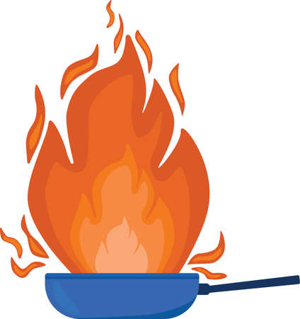Pan with fire for create menu board, logotype for cooking school. Vector stock illustration isolated on white background.