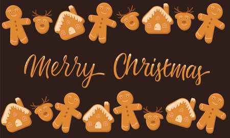 Merry Christmas, ginderbread man, house, deer and hand written sign. Vector stock illustration for Christmas decoration, greeting card, packaging design. Illustration