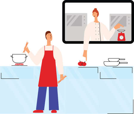 Online cooking course. Man cooking pasta with chef woman. Culinary video broadcast, channel or blog with cooking online class. Vector stock flat illustration isolated on white background.