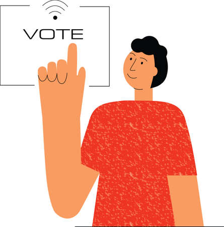 Online vote, electronic poll. Man push button by hand.Flat vector stock illustartion isolated on white background for web design.