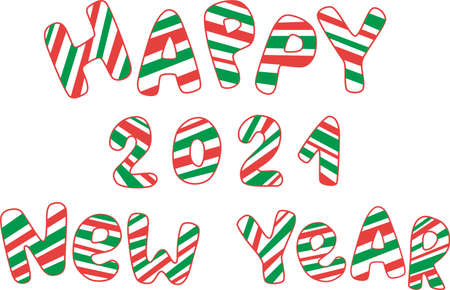 Happy new year 2021. Christmas hand writtten sign candy cane decoration. Vector stock illustration isolated on white background.