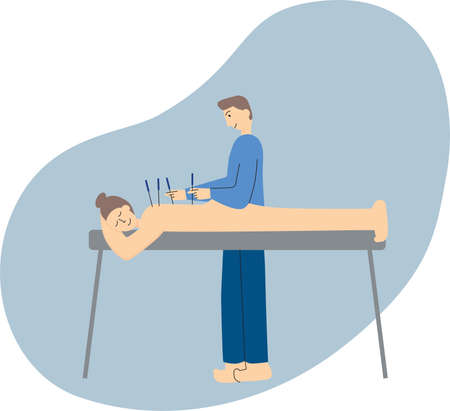 Person receiving acupuncture treatment from practitioner. Alternative healthcare illustration. Vector stock illustration isolated on white background.
