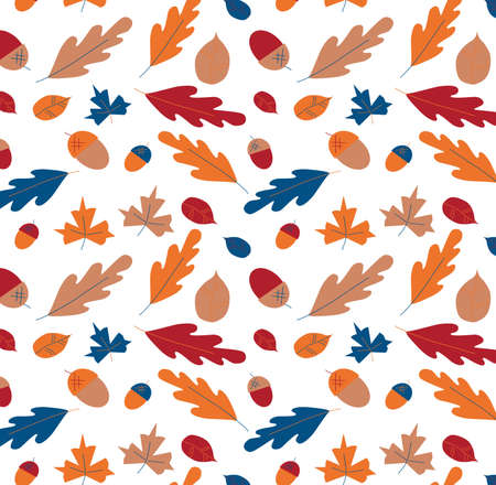 Autumn, fall leaves seamless pattern for decoration Thanksgiving day. Vector stock illustration in classic blue, sandstone, samba, amberglow colors.