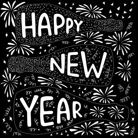 Happy New Year - hand draw chalk sign with champagne bottle and firework. Vector stocl illustartion for banner, greeting card.