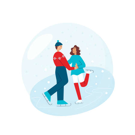 Couple of skating adult, boy and girl in winter illustration. Vector stock illustration isolated on white background. Illusztráció