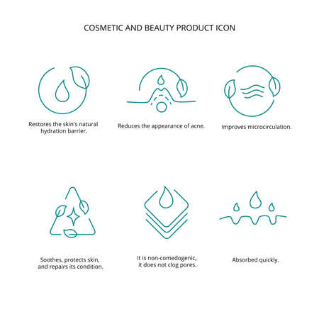 Cosmetic and beauty product icon set for web design. Vector stock illustration isolated on white background. EPS10
