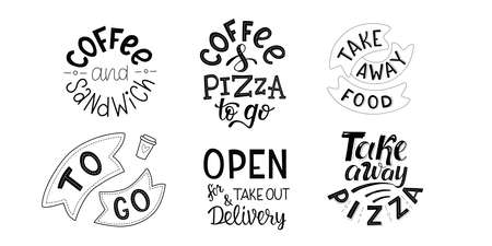 Take away, to go, delivering coffee, pizza, sandwich - set of handwritten sign for fast food restaurant, pizzeria, coffee corner. Vector stock illustration isolated on whita background. EPS10