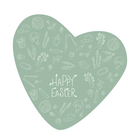 Happy Easter sign with green vegetables frame. Handwritten lettering fresh font. No pattern. Vector stock illustration isolated on white background. EPS10