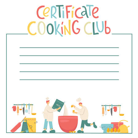 Certificate cooking club, cook chef with hat, uniform cooking in professional kitchen restaurant. Vector stock illustration isolated on white background for web site, poster, online school, diploma.