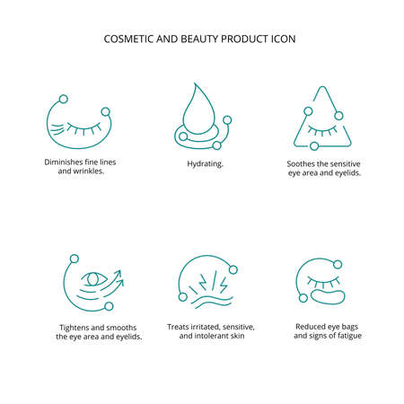 Eye patch, cream, mask cosmetic and beauty product icon set for web, packaging design. Vector stock illustration isolated on white background. EPS10