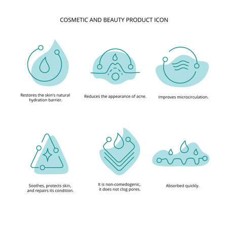 Beauty treatment, cream, mask cosmetic and beauty product icon set for web, packaging design. Vector stock illustration isolated on white background.