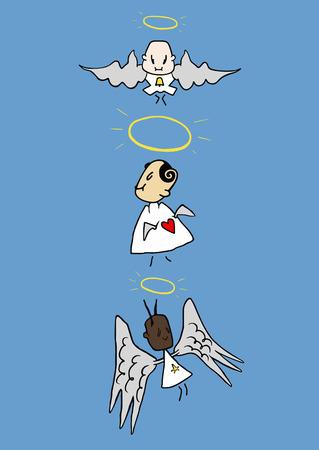 nimbus: three angels with nimbus at the sky Illustration