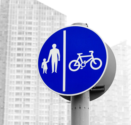 Bicycle and pedestrian lane  British road sign Segregated route for pedal cycles and pedestrians photo