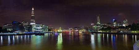 london skyline: London upon the River Thames  Night panoramic view