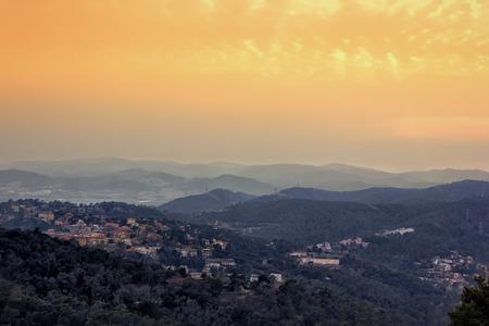 tibidabo: Panoramic view of Barcelona from Tibidabo mountain at sunset