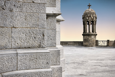 sagrat cor: Bell tower of Temple of Sacred Heart of Jesus on top of Tibidabo mountain  Barcelona