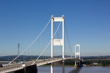 severn: The Severn Bridge, one of the famous motorway suspension bridges in England, spanning the River Severn and River Wye