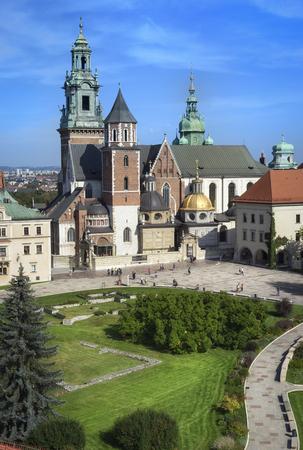 stare miasto: Wawel Royal Cathedral Katedra Wawelska. View from the castle tower, Wawel Hill, Krakow Editorial