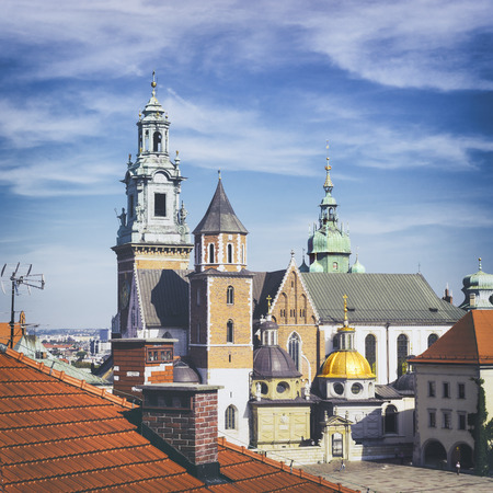 stare miasto: Wawel Royal Cathedral Katedra Wawelska viewed from the castel tower, Wawel Hill, Krakow Editorial