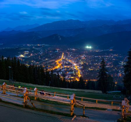 nightscape: The nightscape of Tatra Mountains and Zakopane from Gubalowka Hill, Poland