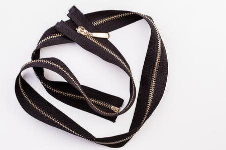 zipper isolated on white, black, new handicraft Stock Photo