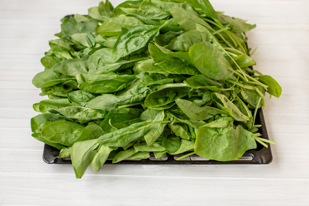 Spinach leaves on a wooden white table. Nutritious and healthy vegetable greens.