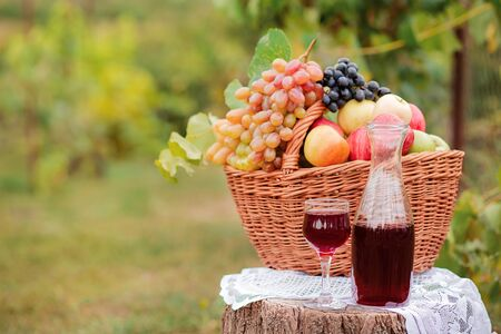 Arrangement in the garden with blue and green grapes, a basket, a glass of red drink and a bottle on the table against the background of the garden. Still life with fruit. Stockfoto - 130072874