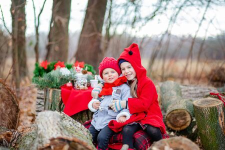 Little girl and boy play and eat cookies at the Christmas tree outdoors. Children play outside on a frosty day. Fun outdoors for a family Christmas break. Foto de archivo
