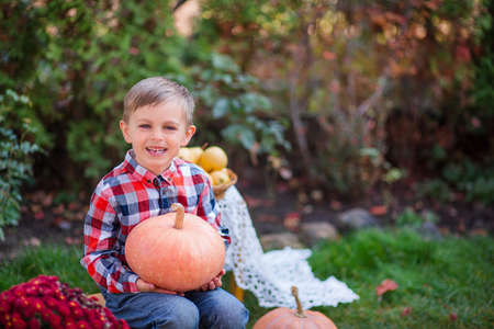 Merry painted pumpkin in the hands of a child. Halloween celebration. Small child is preparing for the holiday.