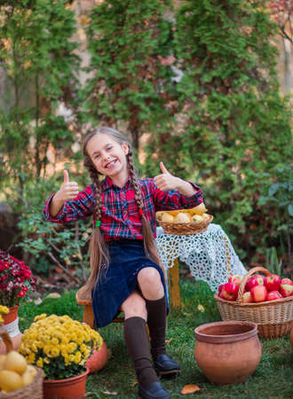 Cute little girl hugs a pumpkin in the autumn garden. Celebrating Autumn Harvest. 免版税图像 - 157538528