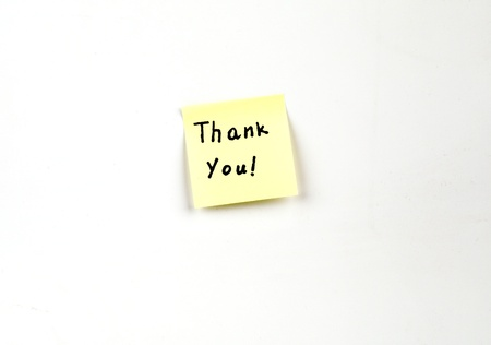 Thank You! on a post-it note