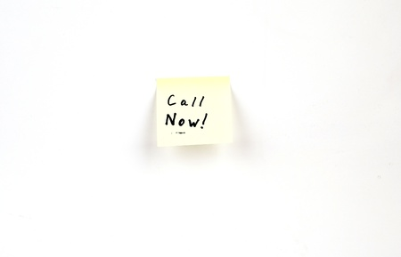 Call Now! on a post-it note