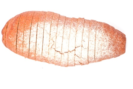 bread cut on slices on white Stock Photo