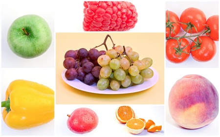 Collage of fresh fruits and vegetables Stock Photo - 15611353
