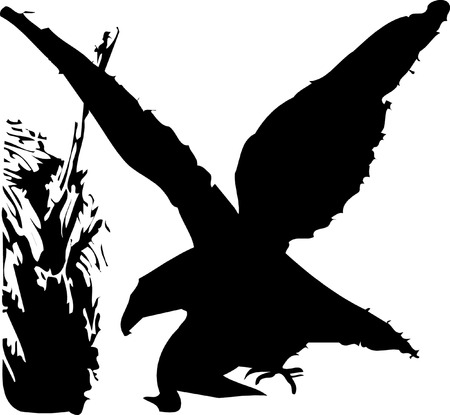 bird silhouette on white background, vector illustration
