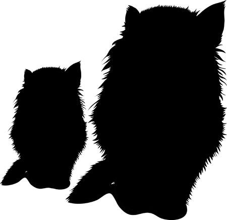 Black silhouette of cats. Vector illustration. Illustration