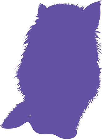 Blue silhouette of cat. Vector illustration. Illustration