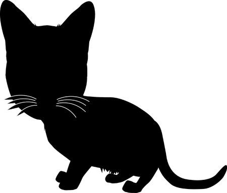 Negro silueta de gato. Ilustraci�n del vector. Vectores