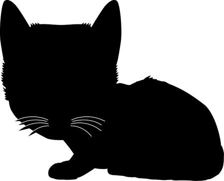 Black silhouette of cat. Vector illustration. Vector