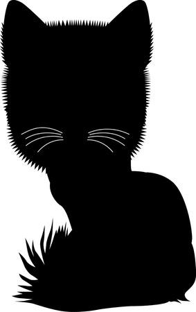 Black silhouette of cat. Vector illustration. Illustration