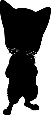 Black silhouette of cat. Vector illustration. Vector