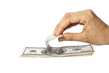 recounts: Woman recounts dollars isolated on white