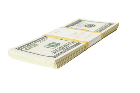 onehundred: Stack of one hundred dollars banknotes  isolated on white