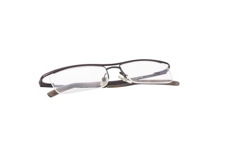 Modern Medical eyeglasses isolated on white  Stock Photo